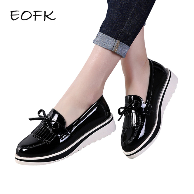 09042749a80 EOFK Flat Shoes Women Autumn Black Patent Leather Slip On Fringe Sweet  Woman Casual Loafers Women s Flats platform Shoes