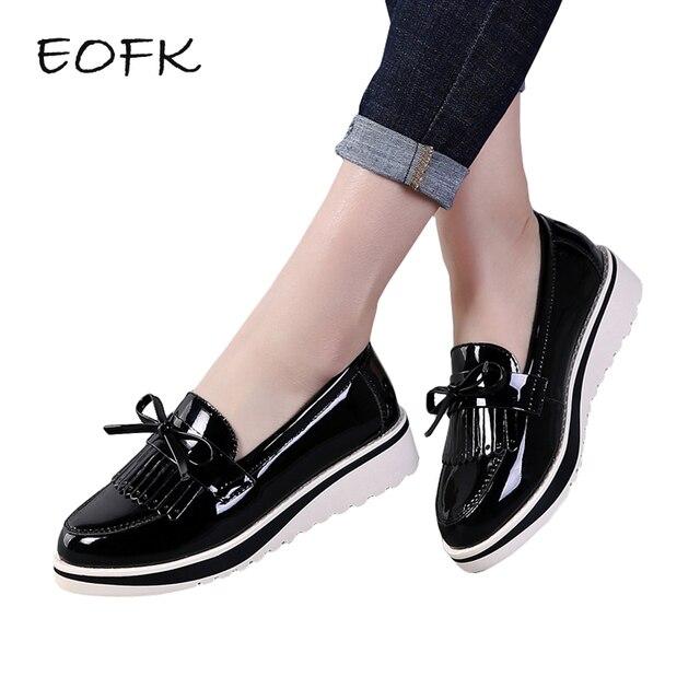 ab461bd9 € 17.49 47% de DESCUENTO|EOFK zapatos planos de mujer otoño negro charol  Slip On Fringe Sweet Woman Casual mocasines zapatos de plataforma planos ...