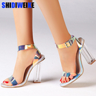 Perspex Transparent Chunky Heels Sandals Colorful PVC Strappy Sandals Sweet Patchwork Wedding Shoes Banquet Pumps n718