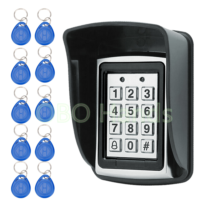 Metal Waterproof Access Control 125KHz RFID Card Reader Keypad With 10 Keys With Rain Cover For Door Access Control System