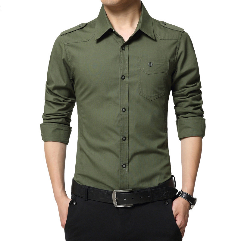 Drop Shipping Men Military  Long Sleeve Slim Fit Camisa Masculina Khaki Army Green Cotton Shirt AXP218