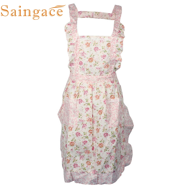 Women Lady <font><b>Sexy</b></font> <font><b>Apron</b></font> Dress Restaurant Home <font><b>Kitchen</b></font> Cooking Bib Flower Style Pocket Lace <font><b>Apron</b></font> Dress support dropship feb23 image