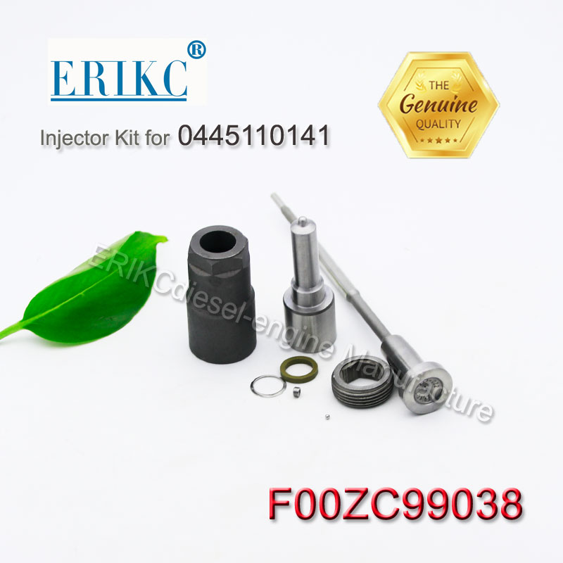 ERIKC F00zc99038 Injector Repair Kits F 00z C99 038 nozzle DLLA146P1296 + valve F 00VC01022 for Injector 0445110141 Opel Renault