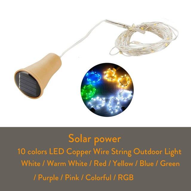 10LED/15LED/20LED Garland Solar Wine Bottle Lights Solar Cork Fairy Lights Christmas Light Copper Garland Wire String 2