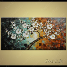 Tree Hand Painted palette knife 3D texture flower Hand Painted Canvas Oil Painting Wall Pictures For Living Room 09