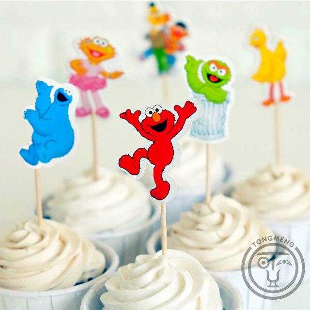 24pcs Cartoon Sesame Street Elmo Bert Big Bird Candy Bar Cupcake Topper Pick Fruit Picks Baby