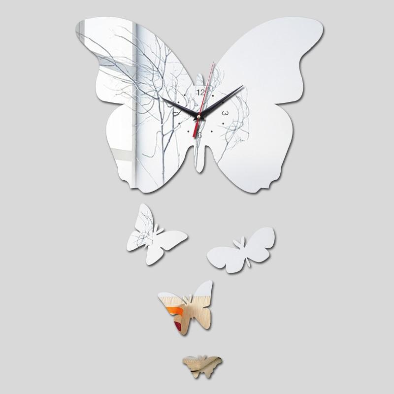 Diy 3d espelho acrílico adesivos de parede agulha de quartzo moderno relógio relógios relógio reloj de pared horloge
