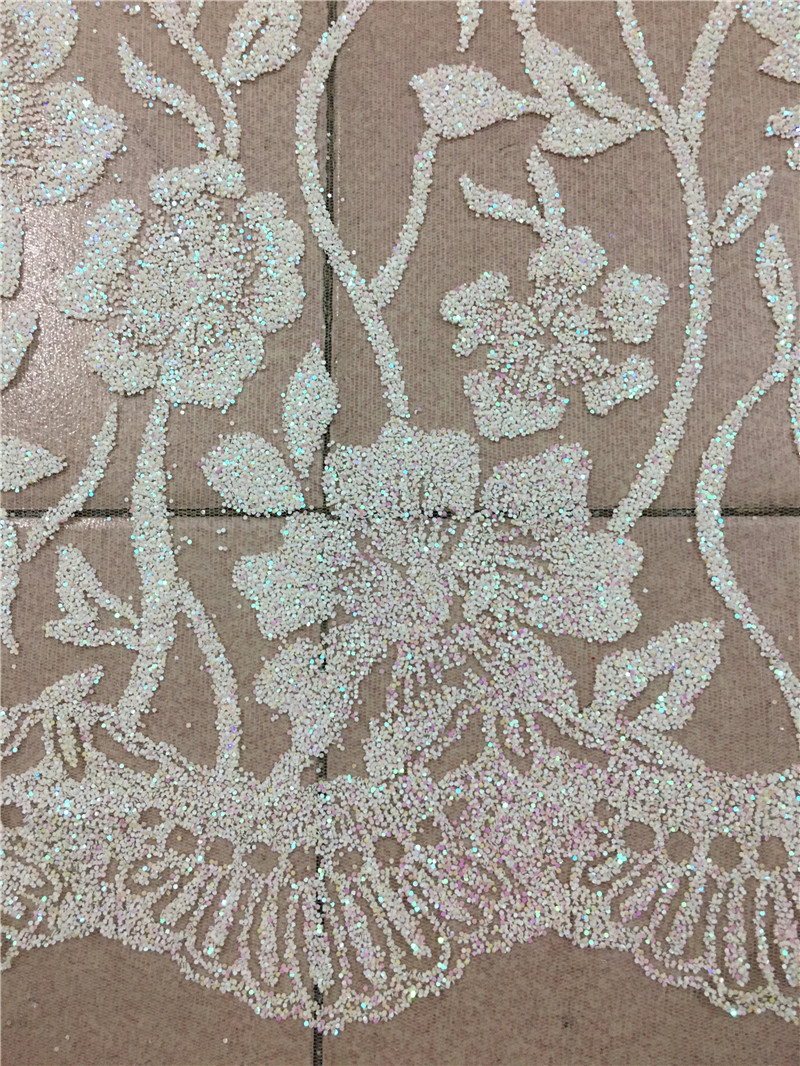 Cream White Color Nice Flowers 5yards Glued Glitter Tulle African Lace Fabric For Sawing Wedding Bridal Dress H-1810155 By Scientific Process Apparel Sewing & Fabric