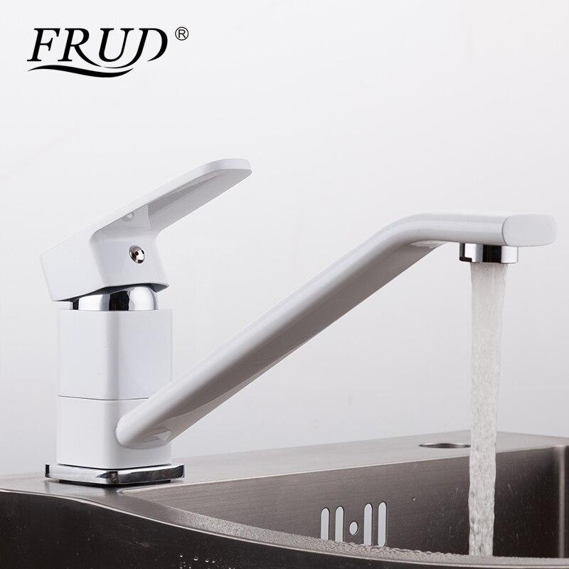 FRUD Küche wasserhahn Weiß Küche Mischbatterien Kalt-und Warmwasser mischer  Flexible Küche Waschbecken Wasserhahn robinet küche R49301