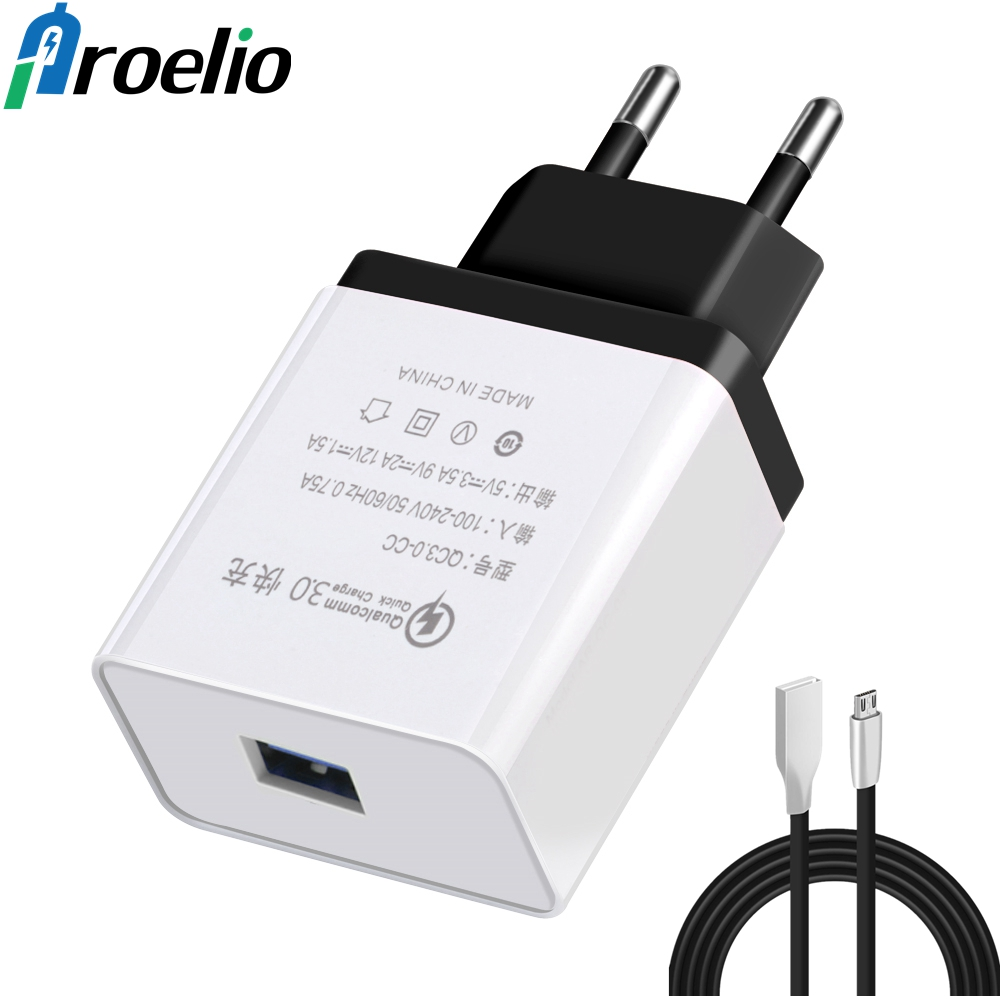 Proelio Quick Charge 3.0 USB Charger For Samsung Fast Charging Travel Wall EU Plug For Xiaomi Huawei HTC Adapter Micro USB Cable