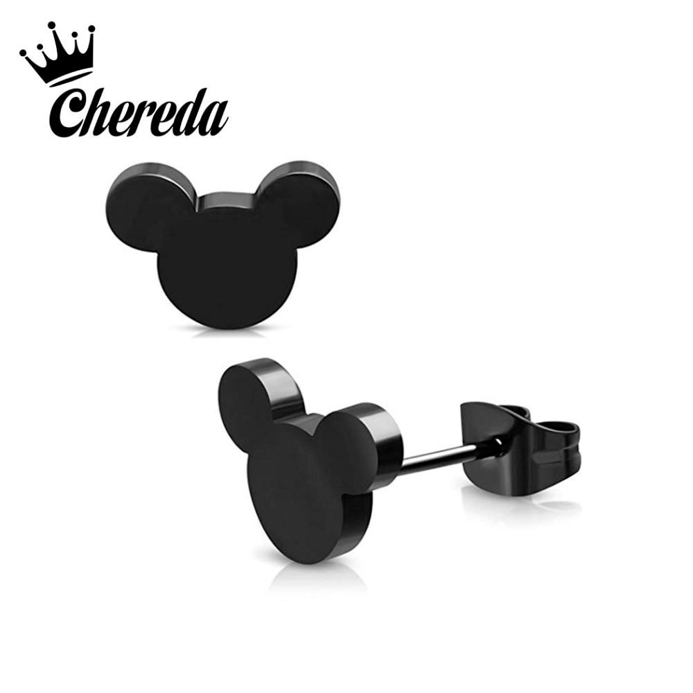 Chereda Trendy Animal Mouse Earrings Gold Stainless Steel Stud for Women Mickey Cute Earring Gift