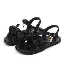 2T 3T 4T 5T 6T 7T 8T-14T little Baby Girl Shoes Kids Sandals soft bottom Bowtie Children Rhinestone Beach fille chaussure