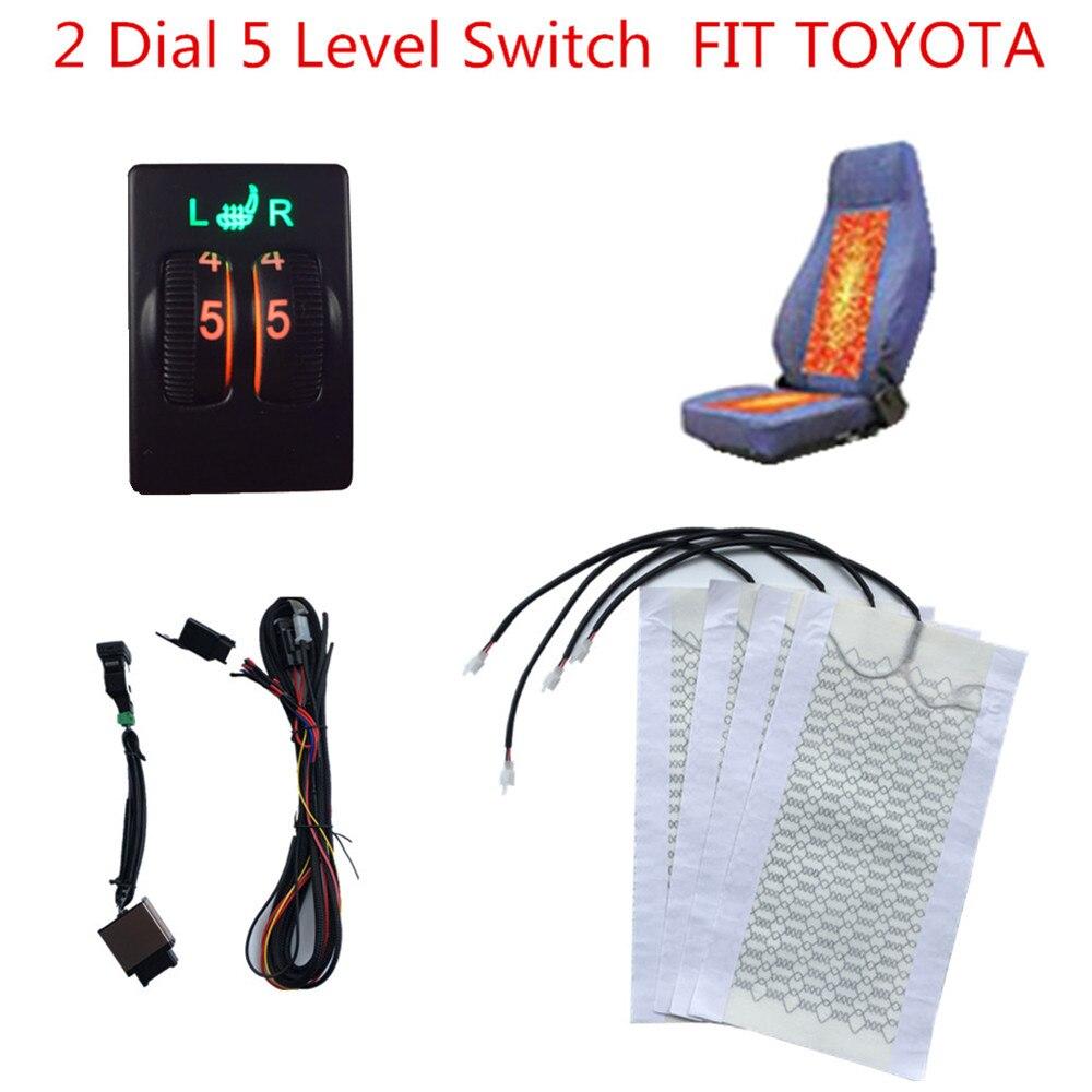 2 sièges 5 interrupteur de niveau chauffage de siège chauffant en Fiber de carbone pour Toyota cars Prado, Corolla, RAV4, Reiz, Yaris, Camry, Crown EZ, Vios, Venza