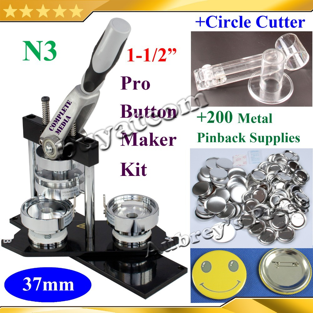 NEW Pro N3 1 1 2 37mm Badge Button Maker Machine Adjustable Circle Cutter 200 Sets