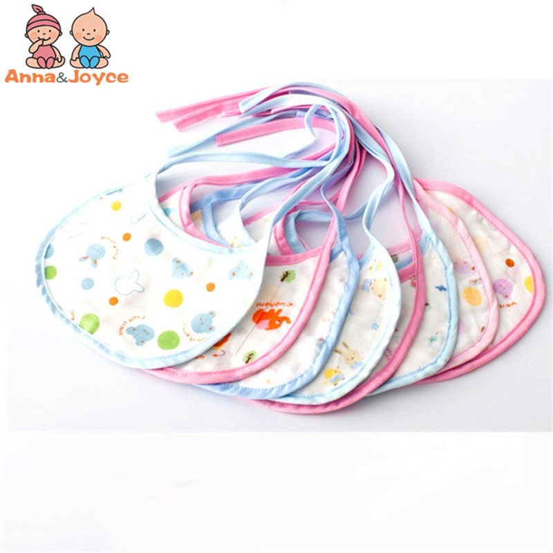 5 Pcs/pack Random Delivery Soft Waterproof Cotton Gauze Fashion Cartoon Pattern Unisex 6 Layer Saliva Towel ...