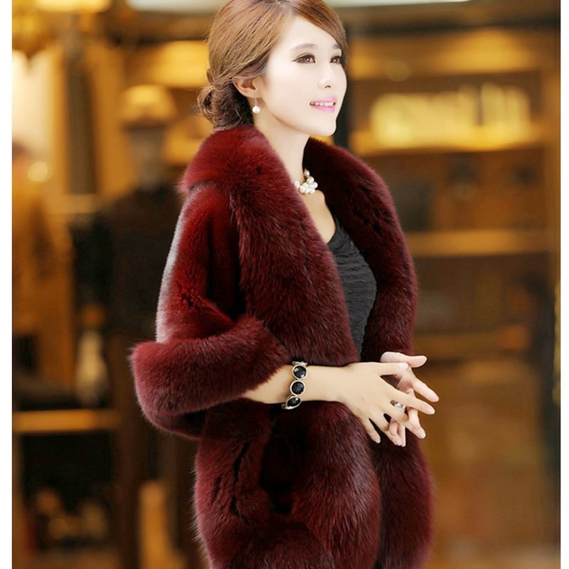 Women's Faux Fur Cape Jacket Winter Warm White / Black / Burgundy Large Fur Collar Short Section Young Lady 2018 New
