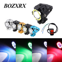 BOZXRX 2 PCS U7 Angel Eye 3000LM 6500K Upper Low Beam Flash U7 LED Driving Moto Fog Spot Head Light Motorbike Auxiliary Lamp DRL