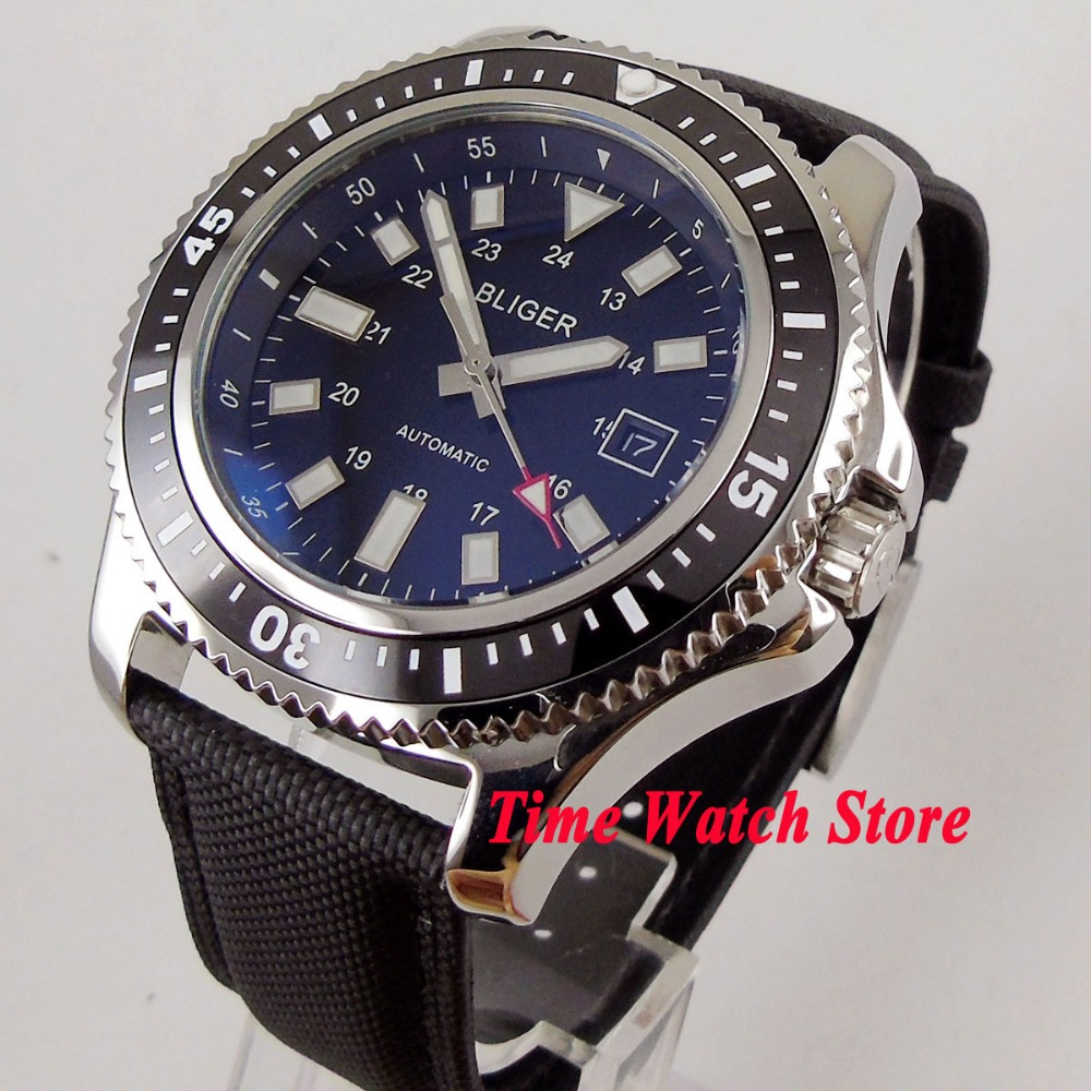 New arrive 44mm BLIGER Automatic men's watch black dial luminous ceramic bezel polished SS case wrist watch men 115