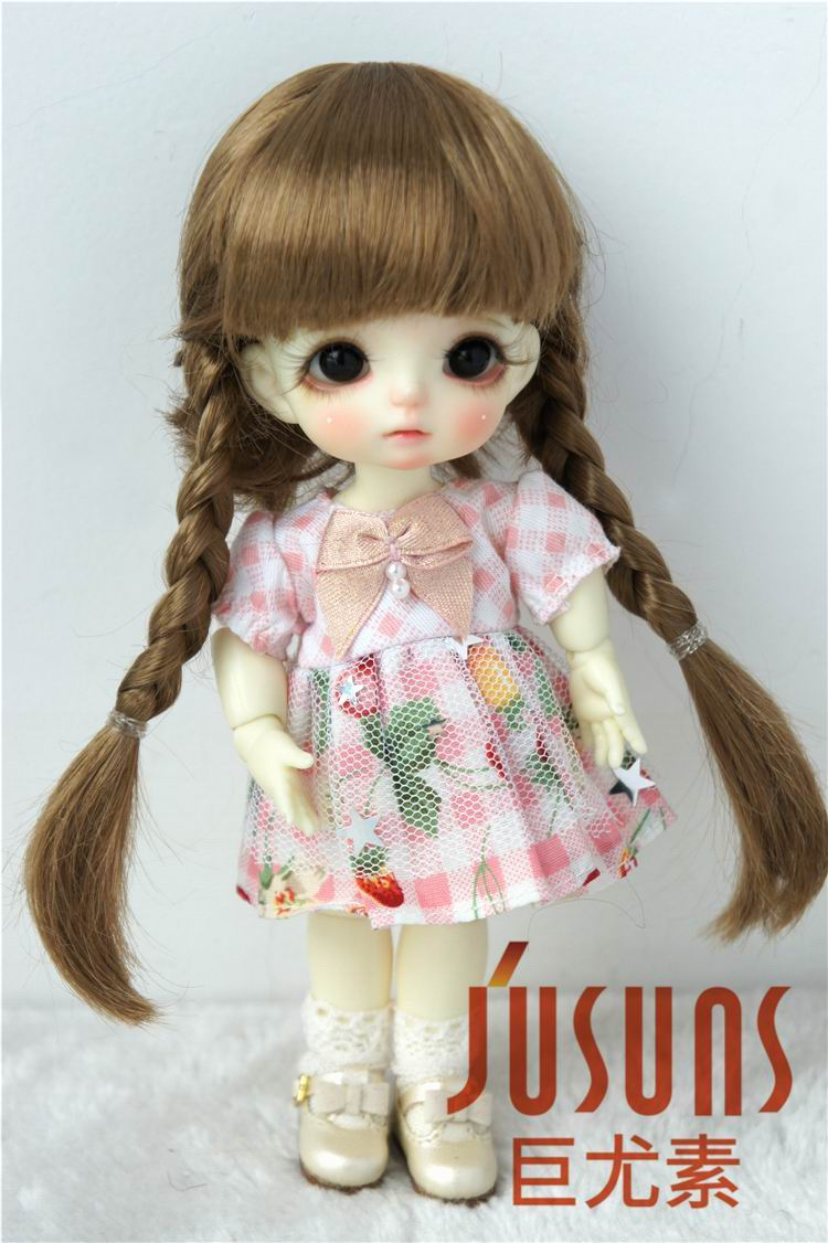 JD018B 1/8 Lati yellow doll wigs 5-6inch 13-15CM synthetic mohair BJD wigs Anne double braid wig petit bateau короткое платье