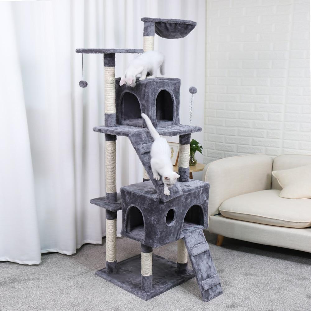Móveis Torre Árvore do gato Da Árvore Do Gato Gatinho Teatro Coberto de Sisal Arranhadores Poleiros Plataformas de Escada com Pós Coçando