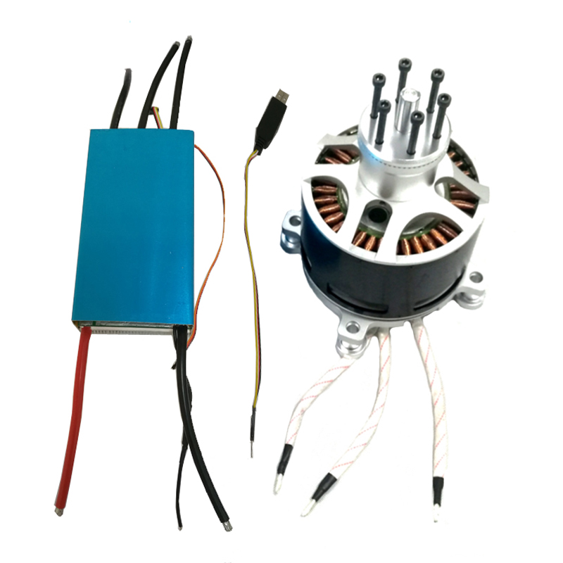 Hot sale 50KW 154120 55KV brushless motor and HV 120V 500A brushless controller for RC UAV