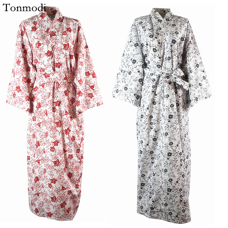 Robe For Women Spring and autumn Flowers lacing Cotton Sleepwear Long Robes ...
