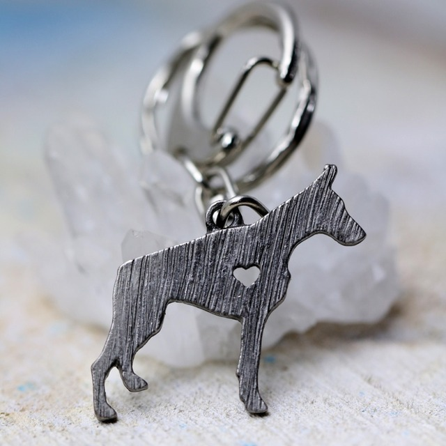 Tkuamigo Doberman Pinscher Key Chains & Pendants Jewelry Animal Shaped Antique Silver Tone Brass Inspired Chain Keychain