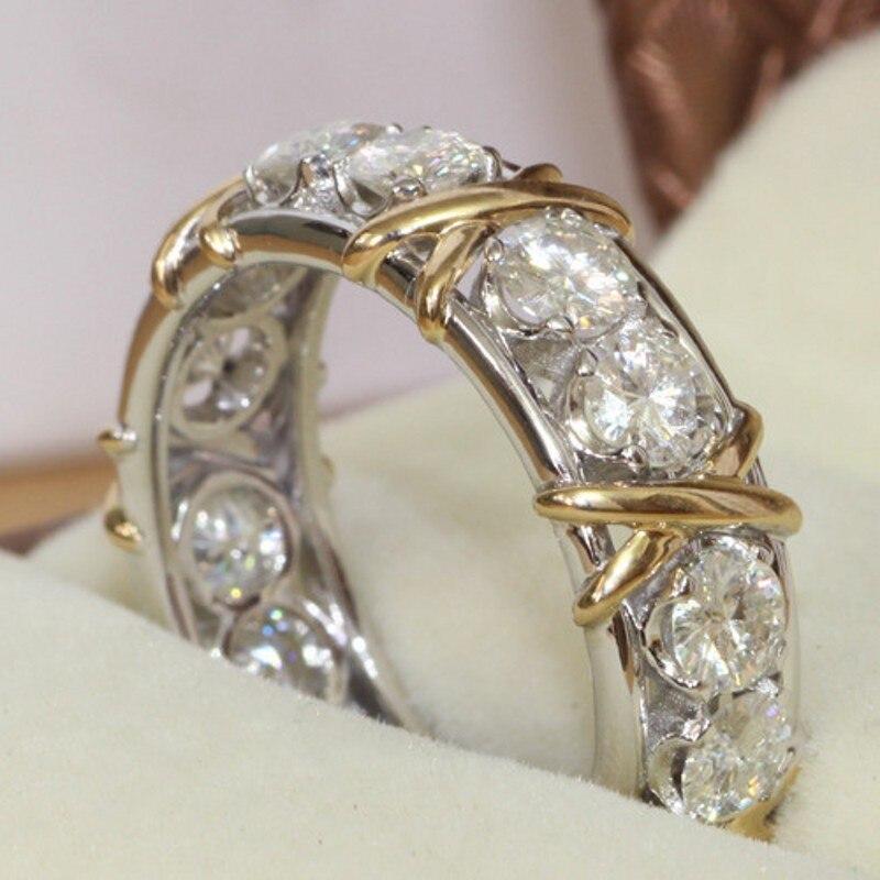 Choucong Eternidade Jóias Pedra 5A pedra Zircão 10KT White & Yellow Gold Filled Mulheres Engagement Wedding Band Anel Sz 5-11