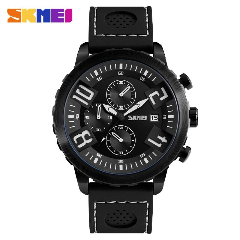 SKMEI Fashion Sports Watches Men 30M Waterproof Calendar Quartz Wristwatches Silicone Strap Watch Relogio Masculino 9153