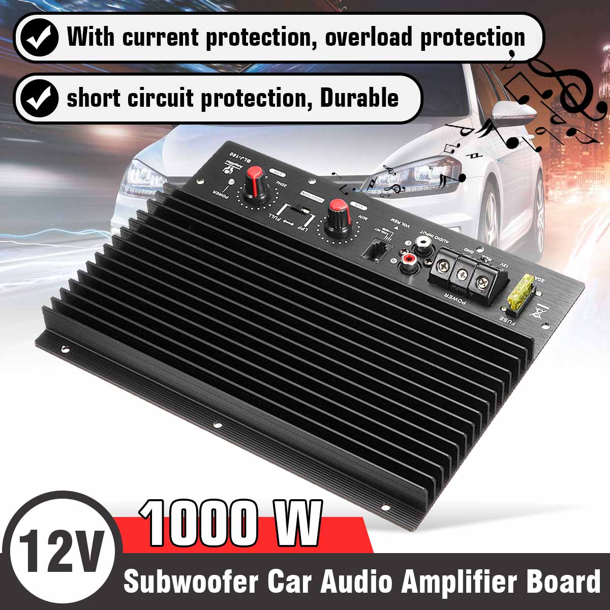 12V 1000W <font><b>Car</b></font> <font><b>Audio</b></font> <font><b>Amplifier</b></font> Board Subwoofer <font><b>Amplifier</b></font> <font><b>DIY</b></font> Amp Board Speaker System <font><b>Car</b></font> Player image
