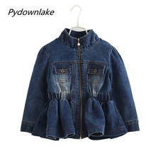 Pydownlake spring baby girls jeans jacket kids clothes fashion outerwear children coat lotus leaf