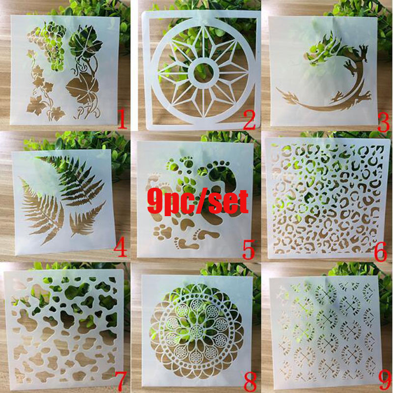 9pcs Openwork Stencil Painting Template Embossing Craft Bullet Journal Accessories Sjablonen For Scrapbooking Reusable Stencil