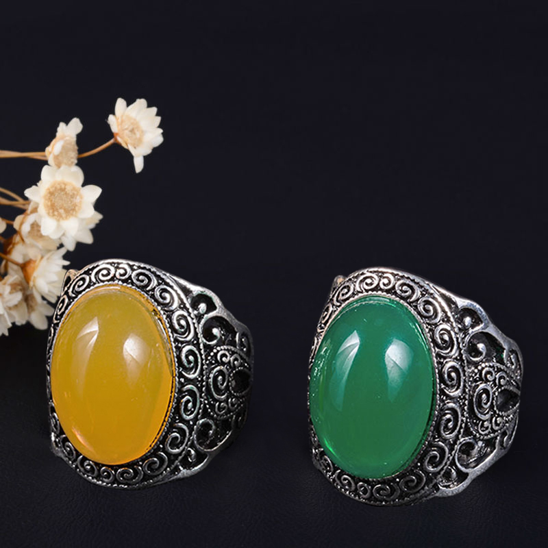 JoymeTurkish Jewelry Carved Flowers Women Unique Resin Vintage Look Tibetan Alloy Antique Silver-Color Green Oval men Ring