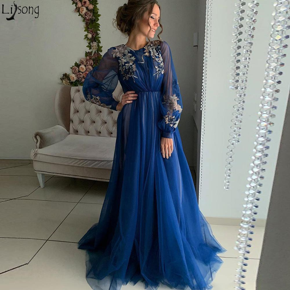Long Sleeve Blue Prom Dresses A Line Lace Appliqued Formal Party Wear Evening Dress Arabic Plus Size Special Occasion Dress