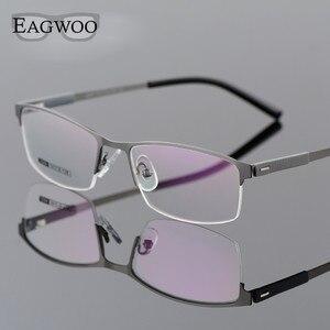Image 4 - EAGWOO iş gözlük çerçevesi yarım jant optik gözlük erkek gözlük altın çerçeve gözlük miyopi okuma bahar tapınak 2299