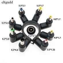 Cltgxdd 90 Grad Abgewinkelt 8 In 1 Universal DC 5,5x2,1mm weibliche Zu 5,5*2,5 4,8/4,0*1,7mm DC Männlichen Stecker Netzanschluss Für Laptop