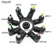 cltgxdd 90 Degree Angled 8 In 1 Universal DC 5.5x2.1mm Female To 5.5*2.5 4.8/4.0*1.7mm DC Male Plugs Power Connector For Laptop