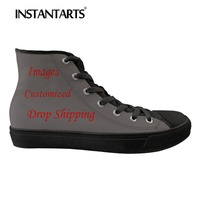 INSTANTARTS Custom Image /logo Men's Sneakers 2019 Stylish Casual   Shoes   High Top Canvas   Shoes   3 Print Boy Male   Vulcanize     Shoes