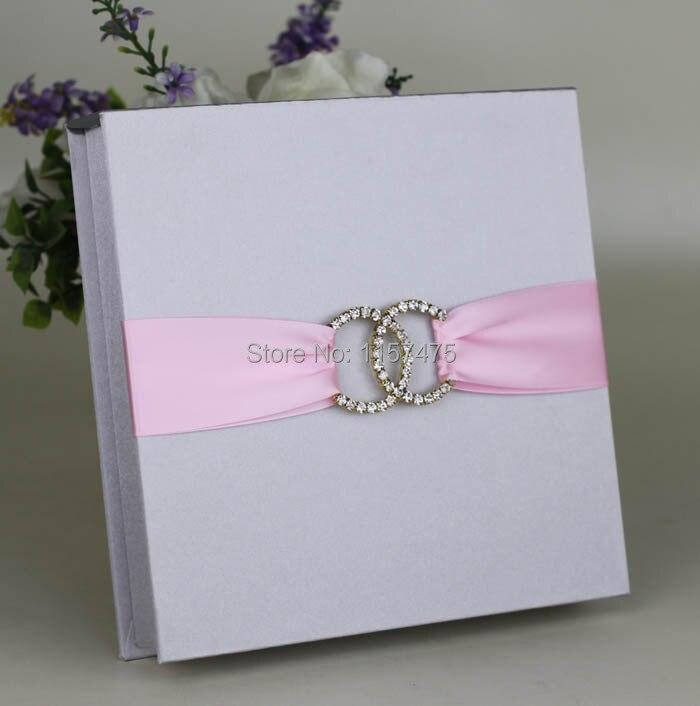 HI2005  Silver / Dark Blue Silk Wedding Invitation Box With Ribbon And  Brooch