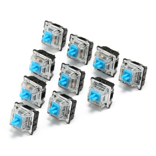 10Pcs Keyboard KeyCaps 3 Pin USB Wired Mechanical Switch Blue for Gateron for Cherry MX Switch Keyboard Sampler Tester Kit