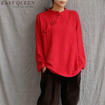 Tradycyjna chińska odzież dla kobiet cheongsam top stójka kobiet popy i bluzki orientalne chiny odzież AA3277 tanie i dobre opinie Topy Dzianiny Poliester COTTON WOMEN EASTQUEEN