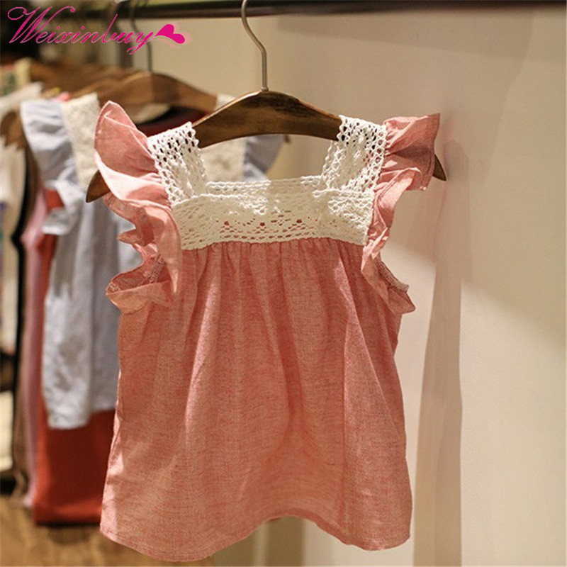 HOT Sale Summer Toddler Baby Girls Casual T-Shirts Lace Splicing Shirt Cotton Soft Blouse Tops