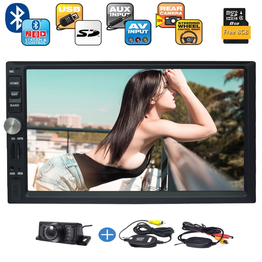 Double Din Autoradio Bluetooth 7'' LCD Monitor USB/Micro SD Card Slot/AM FM Radio/AUX Input/In Dash Car Stereo+Wrieless Camera ssk scrm 060 multi in one usb 2 0 card reader for sd ms micro sd tf white