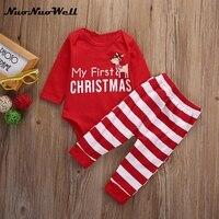 NNW 2pcs My First Christmas Newborn Baby Girls Boys Long Sleeve Romper Striped Pants Cartoon Baby