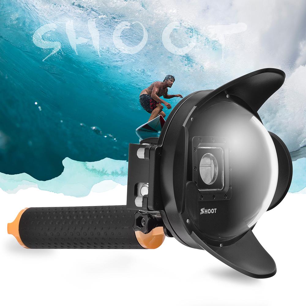Prix pour Shoot 4 pouce parasol dôme pour gopro hero 4 3 + caméra avec flotteur bobber grip aller pro dôme boîtier étanche pour gopro accessoire