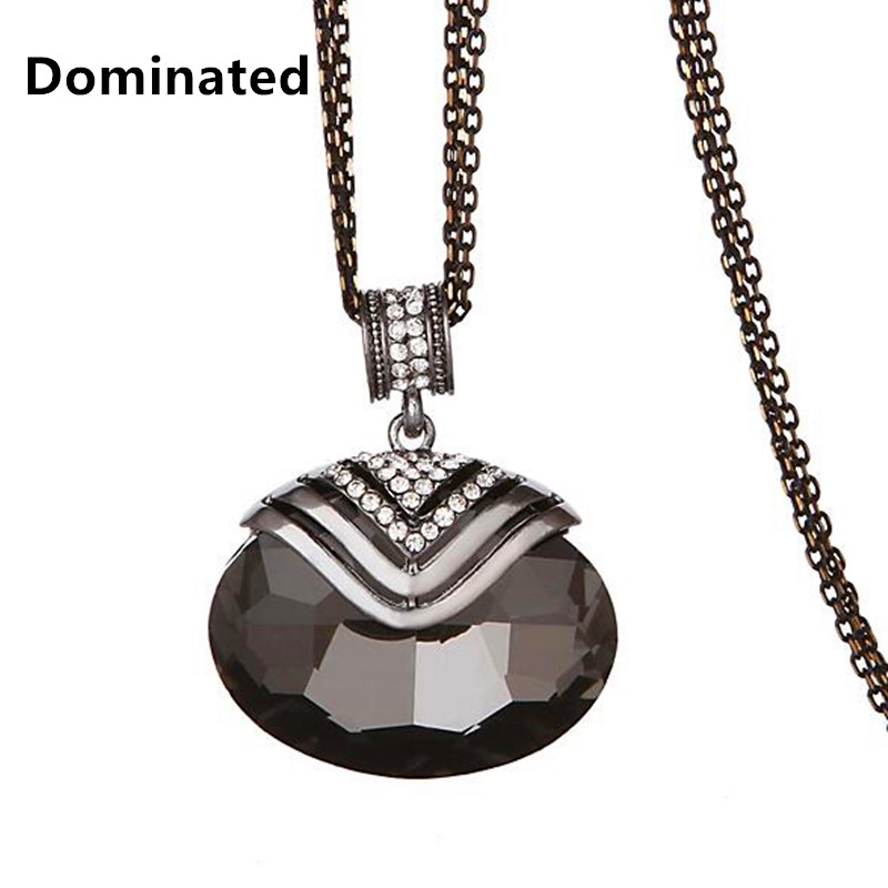 2015 New Arrival Women Pendant Necklaces Large Elliptical Crystal Fashion All-match Simple Decorative Pendant Long Sweater Chain