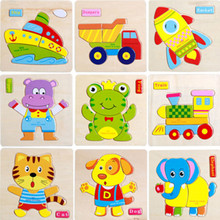 New Wooden Cute Animal Dog Cat Elephant Duck Puzzle Jigsaw Early Learning Children Baby Kids Educational