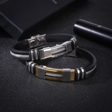 купить Hot Bracelet For Men Women Silicone Stainless Steel Bracelet Stylish Personality Titanium Steel Femme Bracelet For Gift по цене 180.41 рублей
