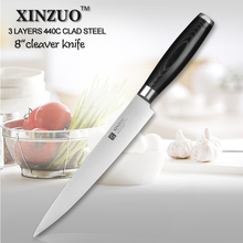 XINZUO 8 inch cleaver knife 440C clad steel kitchen knife filleting knife sharp knife kitchen tool micarta handle free shipping