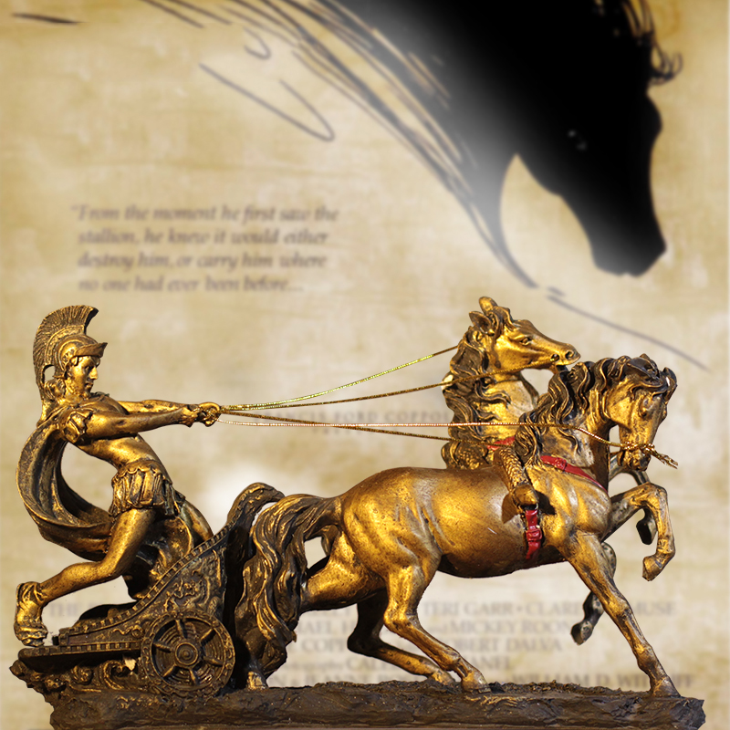 Ancient Roman Armor Spartan Warrior Retro Carriage Sculpture Resin Ornaments Statue Crafts Home Office Desktop Decor Figurine trophy